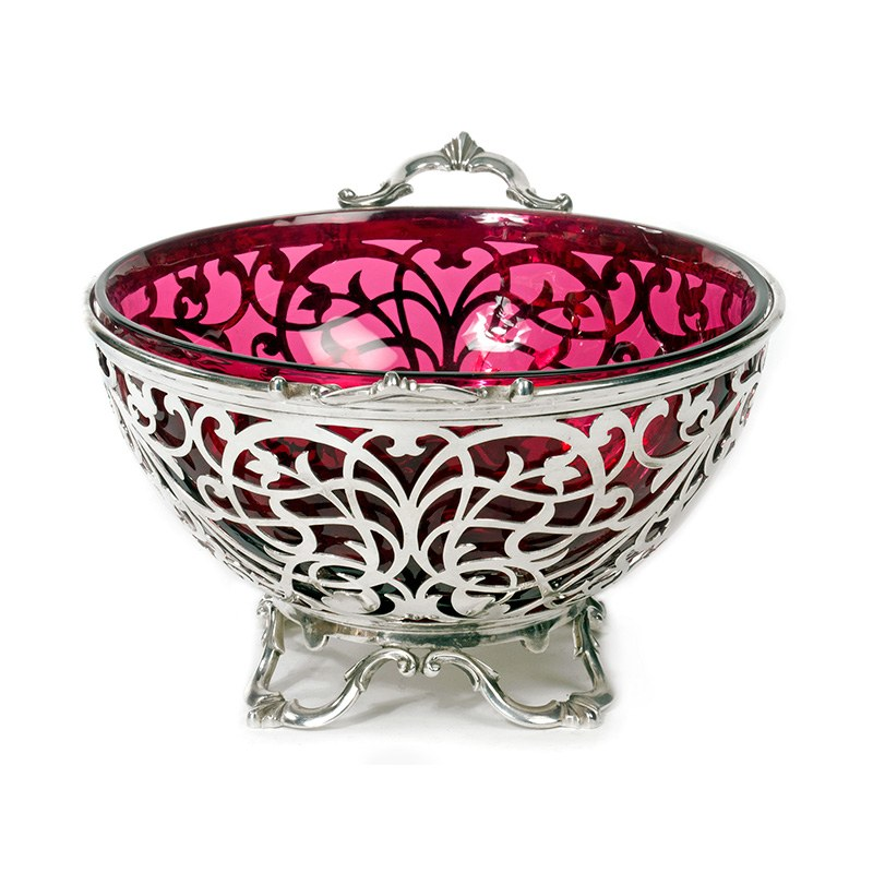 Victorian Silver Plated Fruit Bowl With Ruby Red Glass