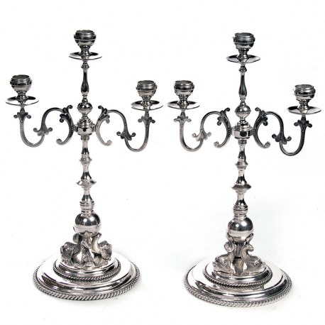 Pair of Victorian Silver Plate Three Light Candelabra with Cast Dolphins (c.1890)