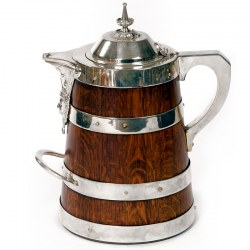 A Large Oak and Silver Plate Beer or Water Jug
