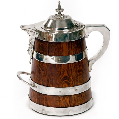 Large Antique Oak and Silver Plate Beer or Water Jug (c.1890)