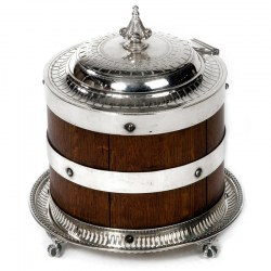 Late Victorian Oak and Silver Plate Biscuit Box with Hinged Lid