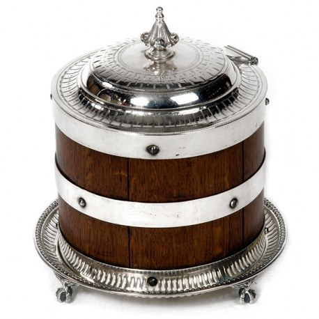 Late Victorian Oak and Silver Plate Biscuit Box with Hinged Lid (c.1890)