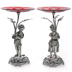 Antique Silver Plated Boy and Girl Comports with Engraved Ruby Red Dishes (c.1890)