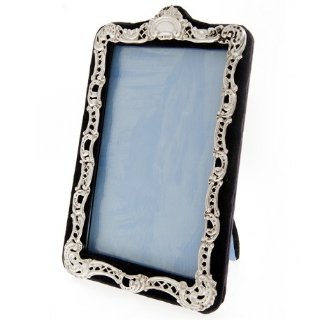 Rectangular Victorian Silver Picture Frame with Velvet Back and Easel Stand (1898)