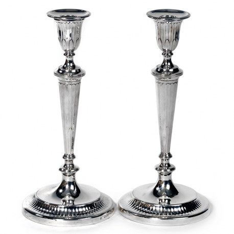 Pair of George III Style Silver Candlesticks