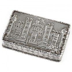 Early Victorian Silver Castle Top Vinaigrette Depicting Windsor Castle