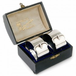 Pair of Boxed Victorian Belt and Buckle Shaped Napkin Rings (1871)