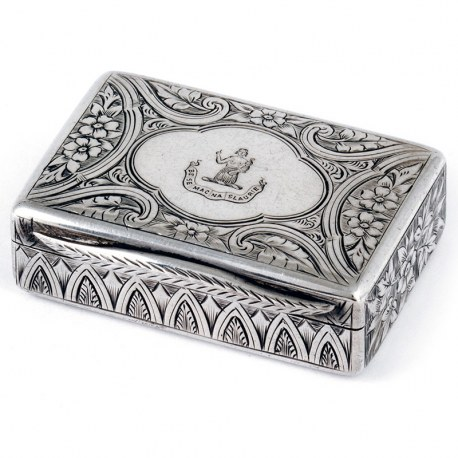 Victorian Silver Snuff Box Engraved with Flowers and Scrolls
