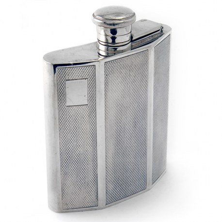 Good Quality Silver Flask with Bayonet Fitting Hinged Lid. R E Porter (1969)