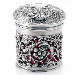 Unusual Cranberry Glass Lined Silver Dressing Table Jar (c.1901)