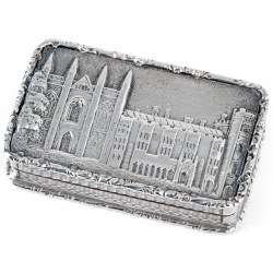 Silver William IV Castle Top Vinaigrette Depicting Newstead Abbey (1839)
