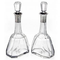 Pair of Cut Glass Silver Necked Liqueur Decanters. 1927