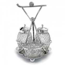 Novelty Antique Silver Plated Golf Themed Three Bottle Cruet Stand (1920)