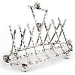 Edwardian Silver Plate Six Division Golf Club Toast Rack