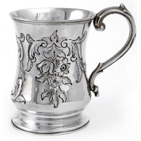 Victorian Silver Christening Mug Chased with Flowers and Scrolls and with a Scroll Handle (1857)