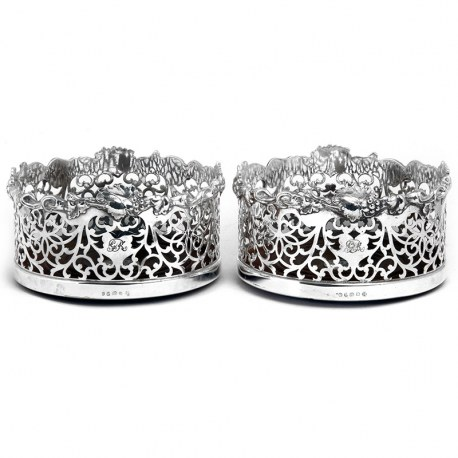 Pair of Victorian Silver Plated Coasters with Vine Borders. Circa 1875