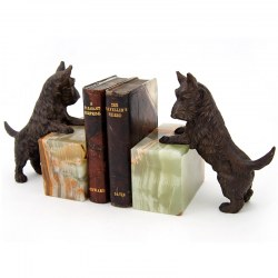 Pair of Bronze Scottish Scottie Terrier Dog Bookend Statues with Green Onyx