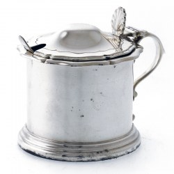 Edwardian Circular Silver Mustard Pot with Blue Glass Liner (c.1906)