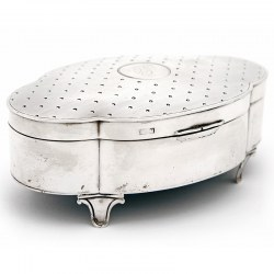 Antique Walker & Hall Oval Shaped Silver Jewellery Box (1912)