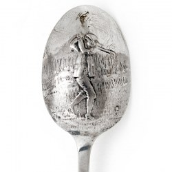Plain Silver Tea Spoon with a Golfing Scene on the Reverse (1825)