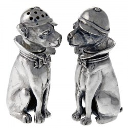 Sterling Silver Pair of Dogs Wearing a Cap Salt and Pepper