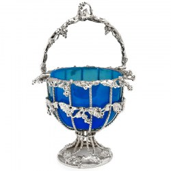 Victorian Silver Plated Basket with Original Blue Glass Liner