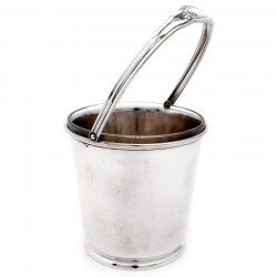 Plain Sterling Silver Ice Pail with Clear Glass Liner. Circa 1940