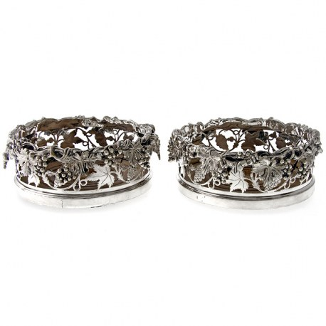 Pair of Victorian Magnum Bottle Size Silver Plated Coasters (c.1890)