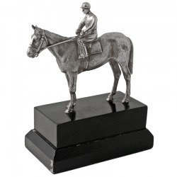 Cast Silver Statue of a Jockey on his Racehorse Standing on a Black Wooden Plinth (1978)