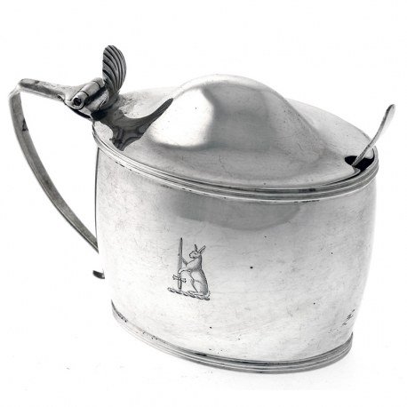 Antique Silver Oval Mustard Pot by Peter, Ann & William Bateman (c.1804)