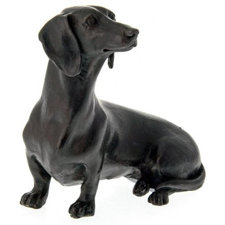 Solid bronze statue of a sitting Dachshund sausage dog animal figure