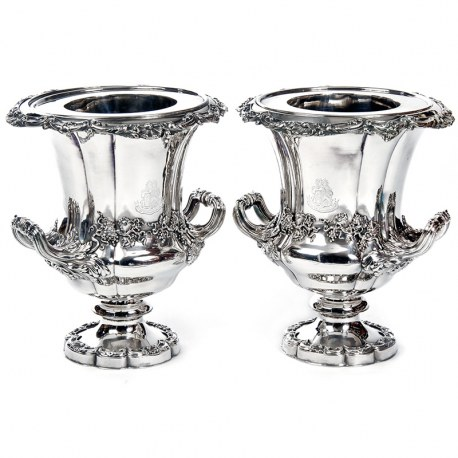 Impressive Pair of Campana Shaped Old Sheffield Plate Wine Coolers (c.1820)