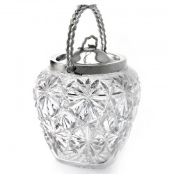 Unusual Shape Cut Glass Silver Plated Biscuit Barrel c.1900