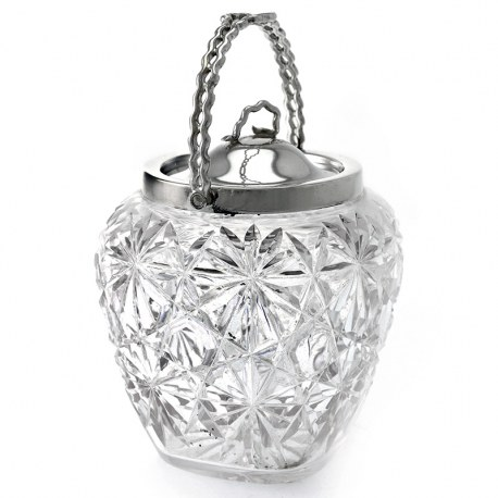 Unusual Shape Antique Cut Glass Silver Plated Biscuit Barrel (c.1900)