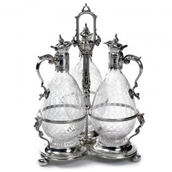 Victorian Silver Plated Decanter Stand with Three Cut Glass Decanters