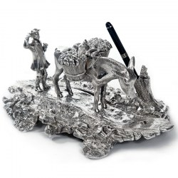 Silver Plated Ink Well Depicting a Peasant Farmer and Donkey with Baskets