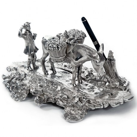 Silver Plated Ink Well Depicting a Peasant Farmer and Donkey with Baskets (c.1890)