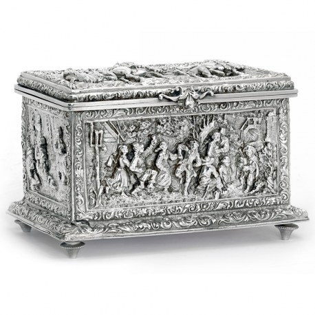 Decorative Victorian Electrotype Jewellery Box with Scenes of Soldiers, Horses and Villagers
