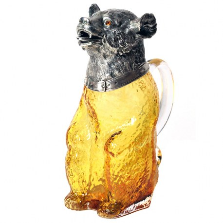 Victorian Style Bear Shaped Silver Plate Claret Jug with Amber Glass