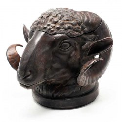 A Bronze Rams Head Ink Well with Glass Liner