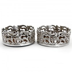 Impressive Pair of Early Victorian Silver Plated Coasters