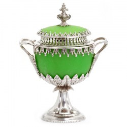 Decorative Victorian Silver Plate Cast Sugar Urn with Green Opeline Glass Liner