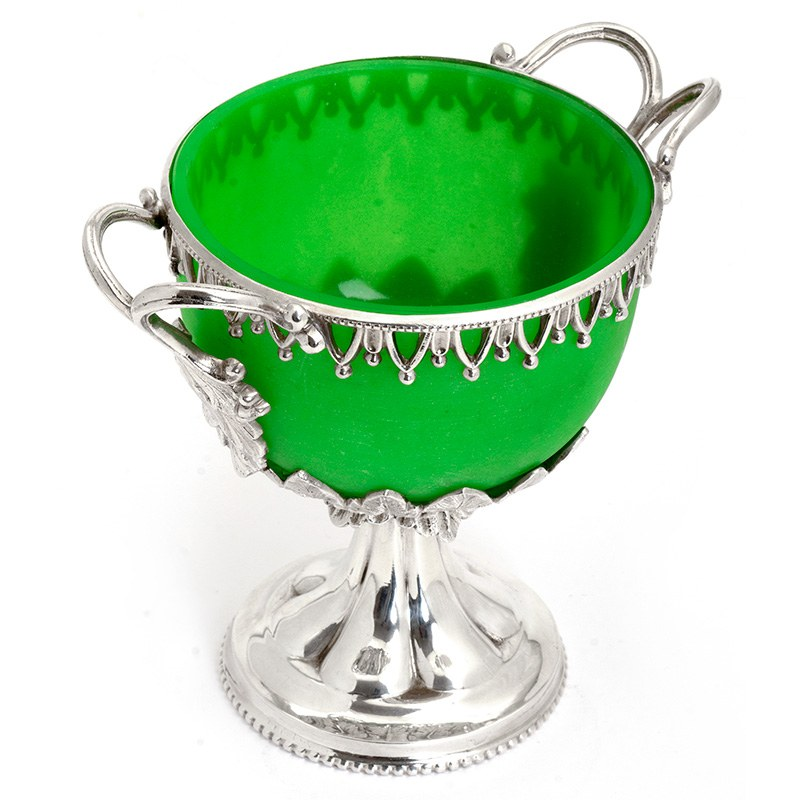 Decorative Victorian Silver Plate Sugar Urn With Green