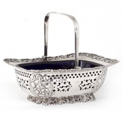 Late Victorian Silver Swing Handle Basket with Bristol Blue Glass Liner (1900)