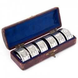 Boxed Set of Six Numbered Silver Napkin Rings