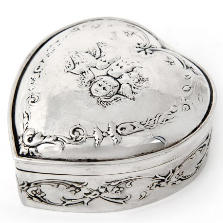 Heart Shaped Antique Victorian Silver Box with Reynolds Angels and Gilt Lining