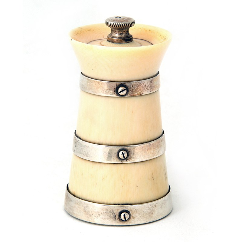 Victorian Ivory Pepper Grinder With Three Silver