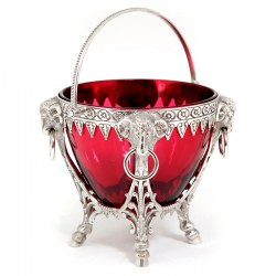 Antique cast Victorian silver plated sugar basket with ruby glass liner