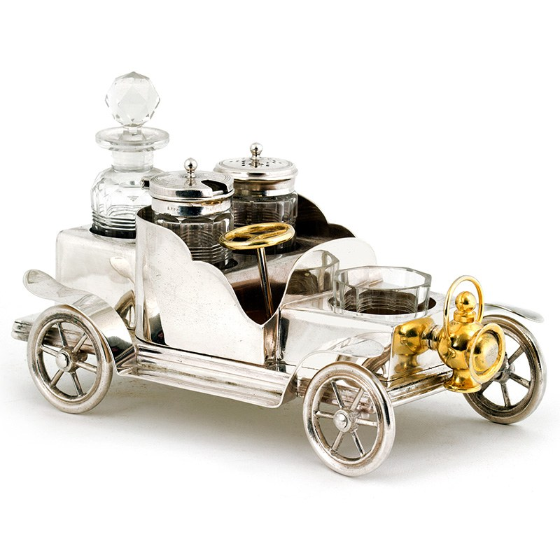 Sampson Mordan Amp Co Silver Plated Vintage Style Car Cruet