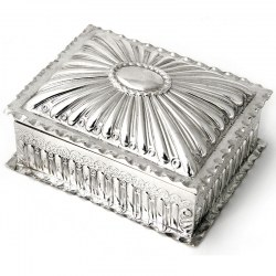 Antique Victorian wood lined silver jewellery or trinket box